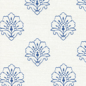Jhansi Fabric - Indian Blue On White - Meg Morton