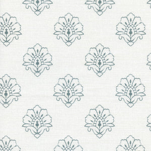 Jhansi Fabric - Soft Teal On White