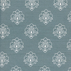 Jhansi Fabric - White On Soft Teal