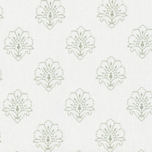 Jhansi Fabric - Woodland Sage On White - Meg Morton