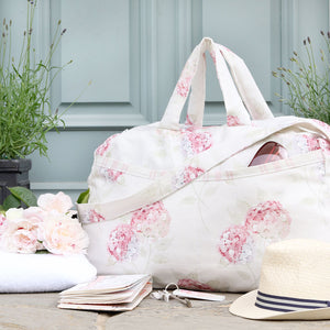 NEW Luxury Vintage-style Weekend Bag - Pastel Pink Hydrangea - Meg Morton