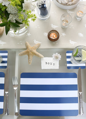 Sailing Stripe Tablemats - Durlston Blue & White - Meg Morton
