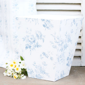 Fabric-covered Waste Paper Bin Adelaine Blue On White - Meg Morton