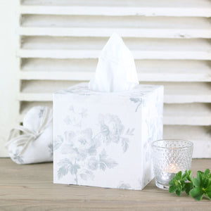 Adelaine Grey Fabric Covered Tissue Box