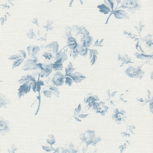 Adelaine Floral Linen Fabric - Loire Blue On Mist - Meg Morton