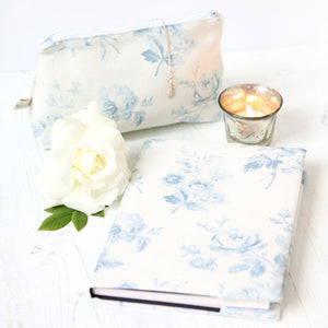 Adelaine Fabric Covered Notebook - Loire Blue On Mist - Meg Morton