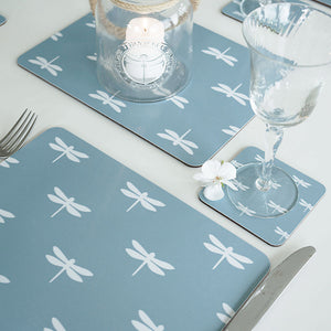 Dragonfly Placemats - White On Aqua - Meg Morton