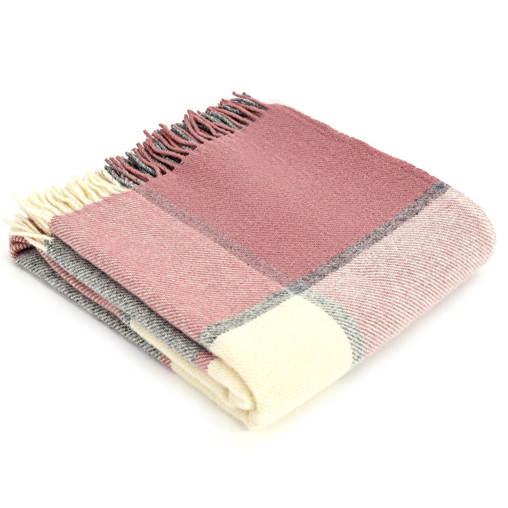 Pink & Grey Check 100% Wool Throw - Meg Morton