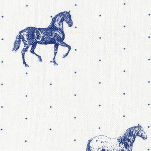 Country Horses Fabric - Blue Roan On White - Meg Morton