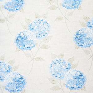 Large Hydrangea Linen Fabric - Paris Blue On Mist - Meg Morton