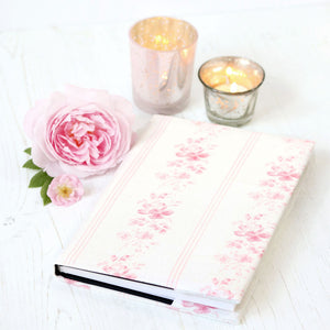 Brocante Stripe Fabric Covered Notebook - Cheverny Pink