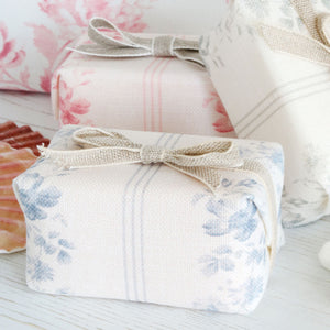 Fabric-covered French Soap - Brocante Stripe Loire Blue