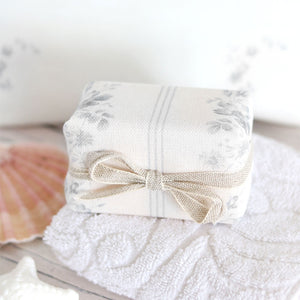 Fabric-covered French Soap - Brocante Stripe Grey - Meg Morton