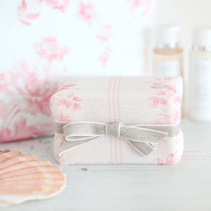 Fabric-covered French Soap - Brocante Stripe Cheverny Pink - Meg Morton
