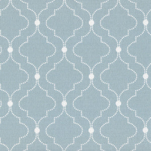 Chalbury Fabric - White On Aqua - Meg Morton