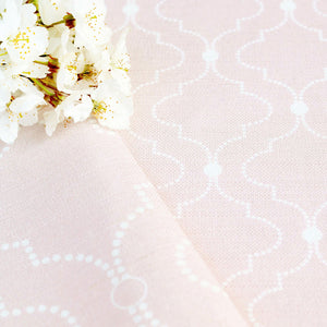 Chalbury Fabric - White On Vintage Pink - Meg Morton