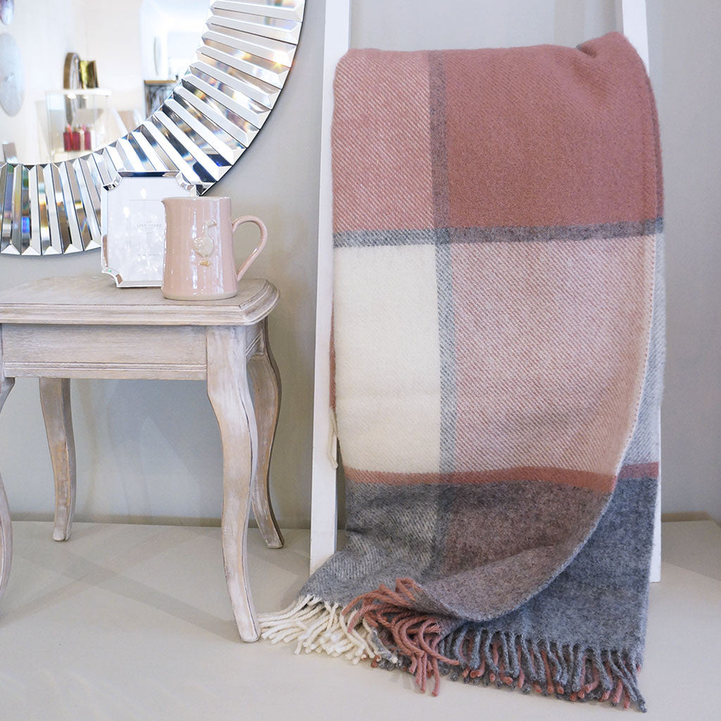 Pink & Grey Check 100% Wool Throw