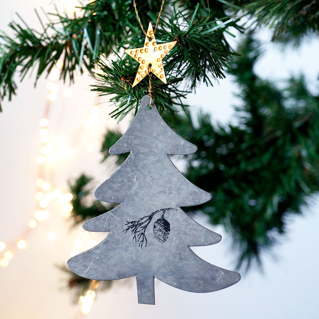 Danish Silver Star Topped Christmas Tree - Meg Morton