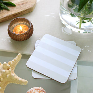 Sailing Stripe Square Coasters -Salcombe Sand & White - Meg Morton