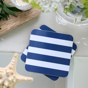 Sailing Stripe Square Coasters - Durlston Blue & White - Meg Morton