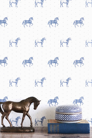Country Horses Wallpaper- Blue Roan