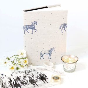 Country Horses  Fabric Covered Notebook - Blue Roan On Pebble - Meg Morton