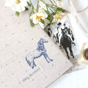 Country Horses  Fabric Covered Notebook - Blue Roan On Pebble