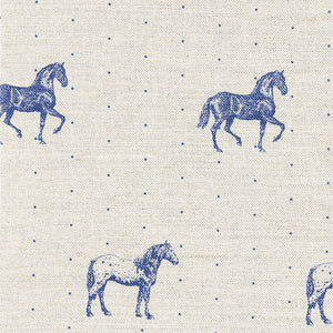 Country Horses Linen Fabric - Blue Roan On Pebble - Meg Morton