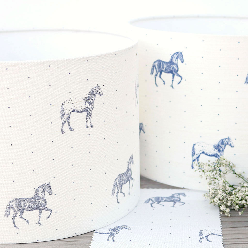 Country Horses Lampshade - Dapple Grey - Meg Morton