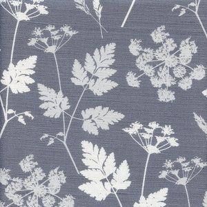 Summer Lane Cow Parsley Linen Fabric - Kimmeridge Grey - Meg Morton