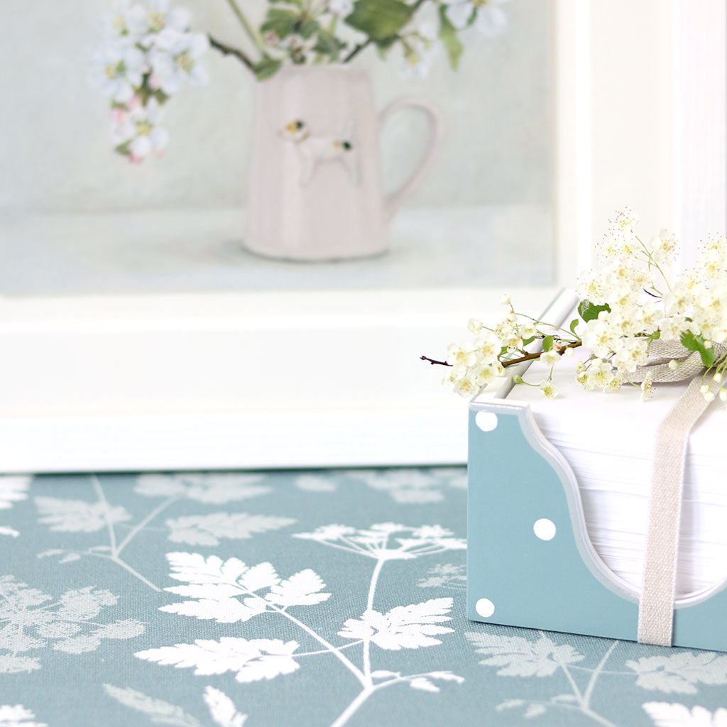 Cow Parsley Fabric - Soft Teal | Meg Morton