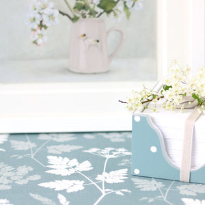 Cow Parsley Linen Fabric - Soft Teal - Meg Morton