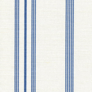 Devon Stripe Linen Fabric - Indian Blue on White - Meg Morton