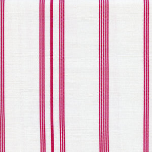 Devon Stripe Linen Fabric - Raspberry Red On White - Meg Morton