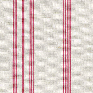 Devon Stripe Linen Fabric - Red Maple On Stone