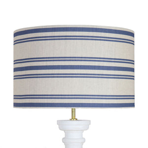 Dorset Stripe Lampshade - Durlston Blue on Pebble - Meg Morton