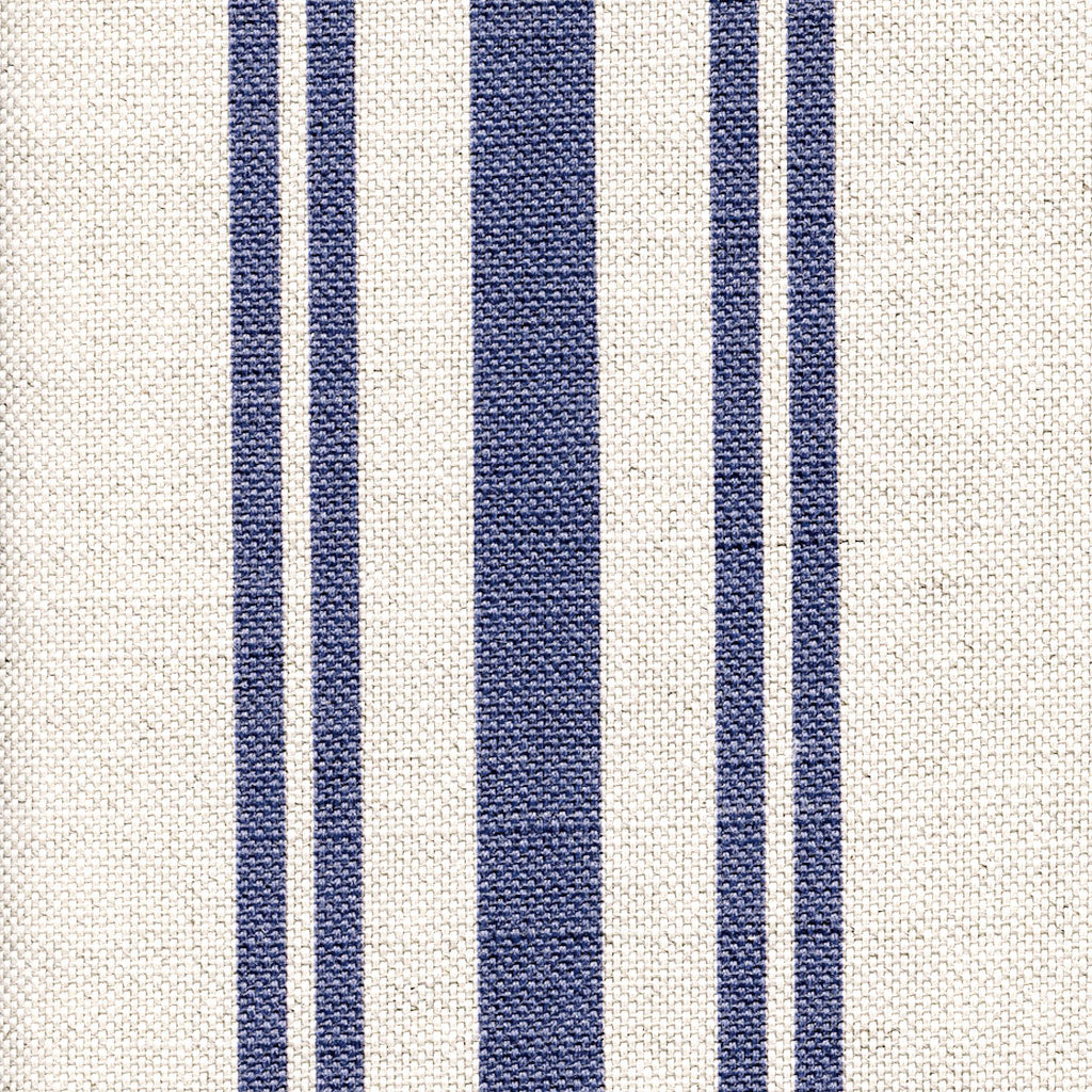 Navy Striped Linen Fabric - French Style