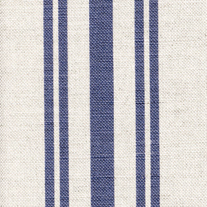 Dorset Striped Linen Fabric - Durlston Blue on Natural Pebble - Meg Morton