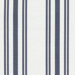 Dorset Striped Linen Fabric - Flint On White - Meg Morton