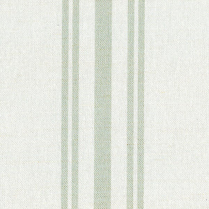 Dorset Striped Linen Fabric - Soft Moss On Mist - Meg Morton