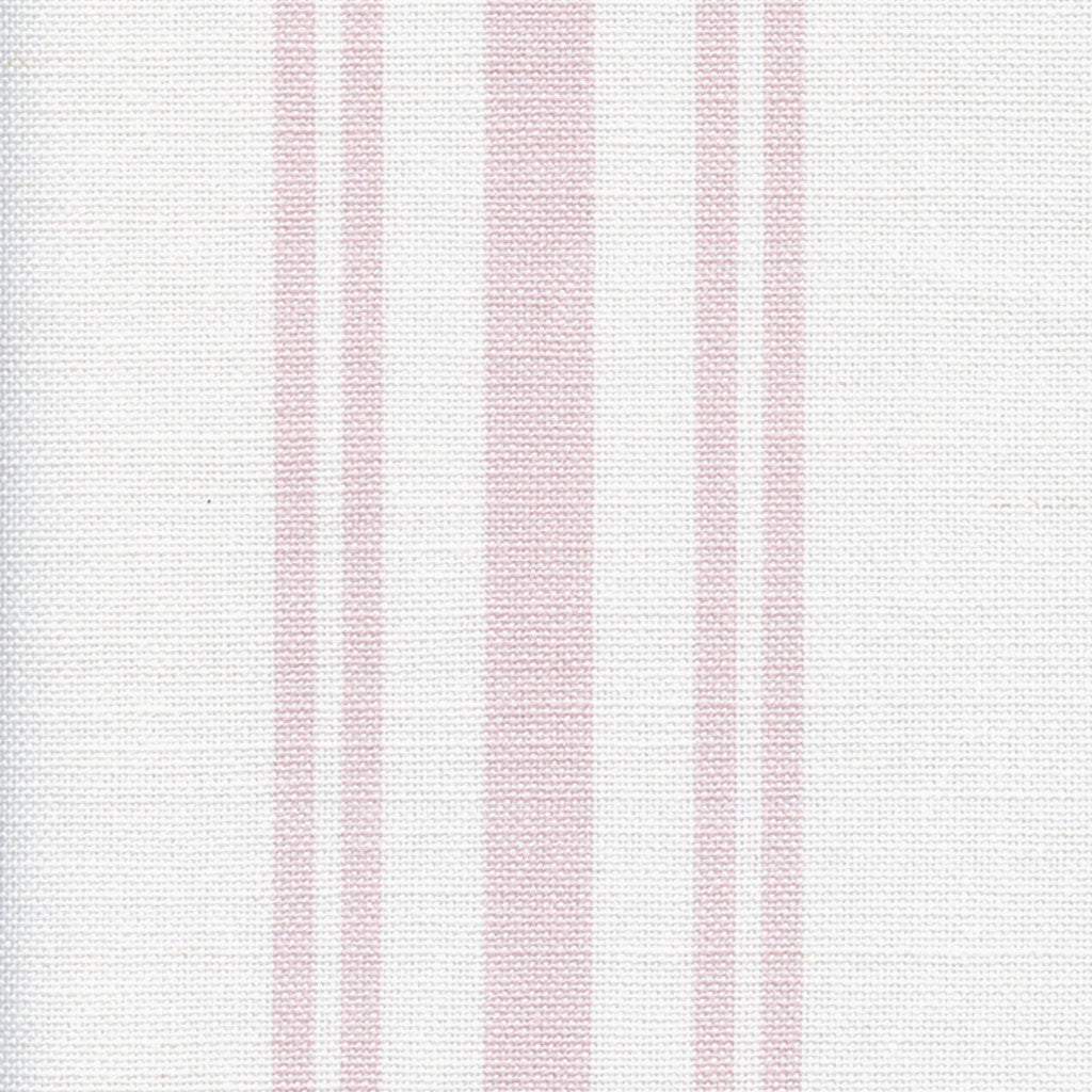 Dorset Striped Linen Fabric - Vintage Pink On White - Meg Morton