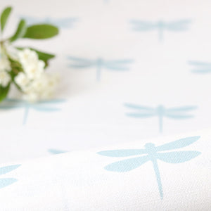 Dragonfly Linen Fabric - Aqua on White - Meg Morton