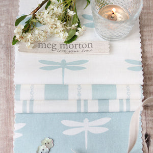 Dragonfly Linen Fabric - White On Aqua - Meg Morton