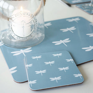 Dragonfly Coasters - White On Aqua - Meg Morton