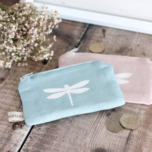 Fabric Purse - White Dragonfly On Aqua - Meg Morton