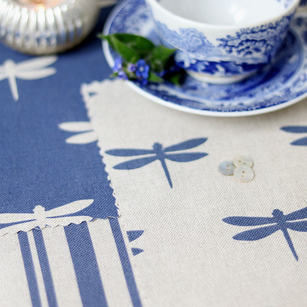 Dragonfly Linen Fabric - Durlston Blue On Natural Pebble - Meg Morton