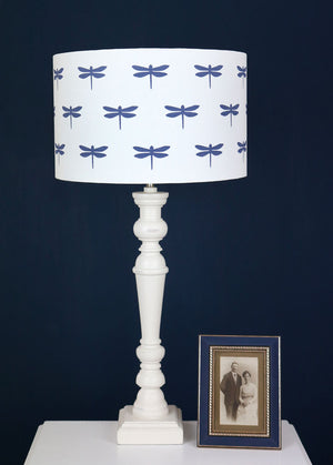 Dragonfly Lampshade - Durlston Blue On White