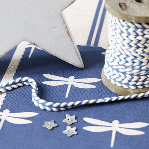 Dragonfly Linen Fabric - Natural Pebble On Durlston Blue - Meg Morton