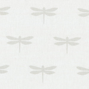 Dragonfly Linen Fabric - Millstone On White - Meg Morton