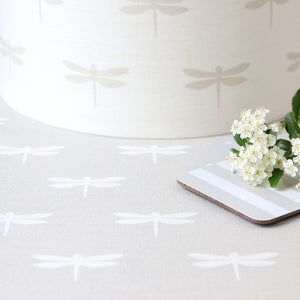 Dragonfly Linen Fabric - White On Millstone - Meg Morton